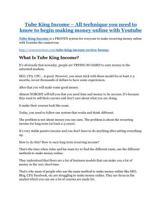 Tube King Income Review & GIANT bonus packs
