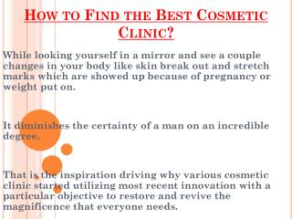 Choose The Best Cosmetic Clinic In Uk ?