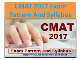 CMAT 2017 Exam Pattern And Syllabus