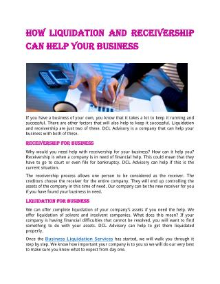 How Liquidation and Receivership can help Your Business