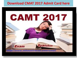 Download CMAT 2017 Admit Card here