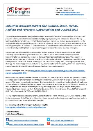 Industrial Lubricant Market Size, Share and Forecasts 2021 by Radiant Insights
