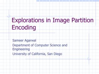 Explorations in Image Partition Encoding