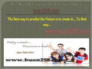 BUSN 258 Course Real Knowledge / busn 258 dotcom