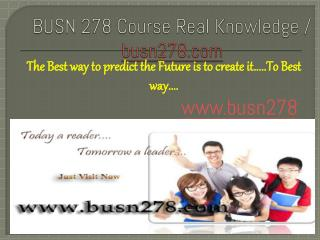 BUSN 278 Course Real Knowledge / busn 278 dotcom