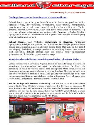 Verhuisdozen kopen in Deventer en Twello-Aanbieding Salland Storage