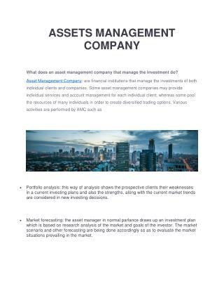 ASSETS MANAGEMENT COMPANY