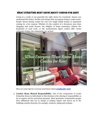 What Everyone Must Know About Condos for Rent