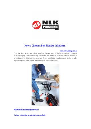 How to Choose a Best Plumber In Malvern?