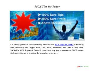 Invest Money in Commodity Trading with MCX Tips for Today
