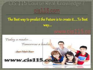 CIS 115 Course Real Knowledge / cis 115 dotcom