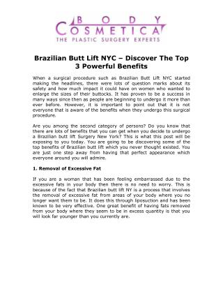 Brazilian Butt Lift NYC - Discover The Top 3 Powerful Benefits