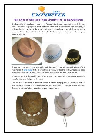 Hats China at Wholesale Prices Directly from Top Manufacturers
