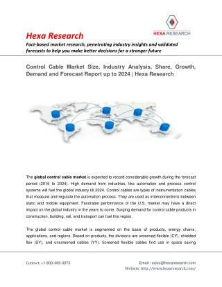 Control Cable Market to Exhibit Substantial Growth by 2024 | Hexa Research