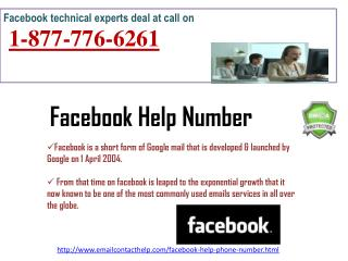 When I Facebook Help Number, I called @1-877-776-6261  toll-free number & got quality, & instant services