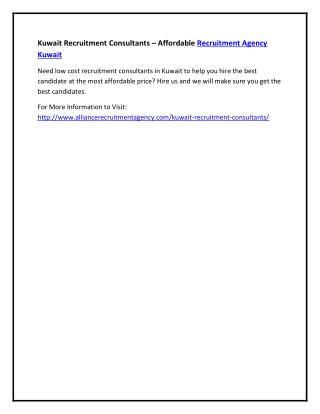 Kuwait Recruitment Consultants – Affordable Recruitment Agency Kuwait