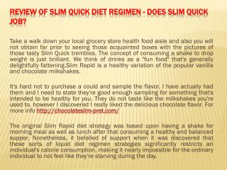 Review of Slim Quick Diet regimen - Does Slim Quick Job
