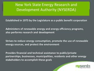 New York State Energy Research and Development Authority NYSERDA