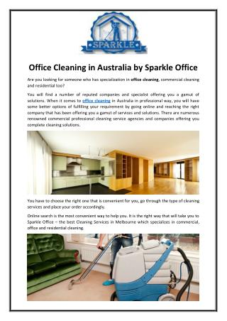 Office Cleaning in Australia by Sparkle Office