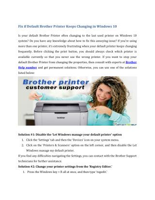 Fix if Default Brother Printer Keeps Changing in Windows 10