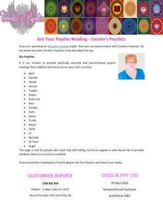 Get Your Psychic Reading - Cecelia's Psychics