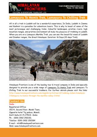 Lamayuru To Hemis Trek, Lamayuru To Chilling Trek