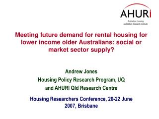 Meeting future demand for rental housing for lower income older Australians: social or market sector supply