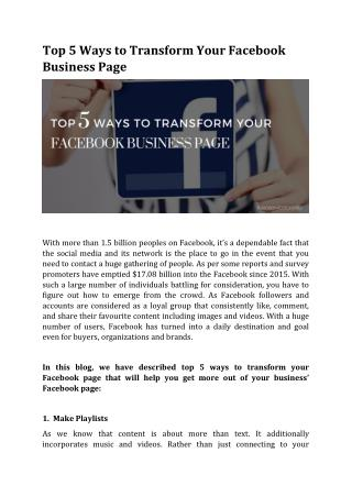 Top 5 Ways to Transform Your Facebook Business Page