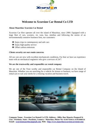 Welcome to Xcursion Car Rental Co LTD