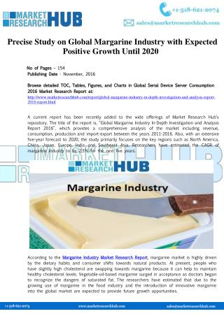 Global Margarine Industry In-Depth Investigation and Market Report
