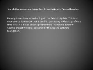 Learn Python language and Hadoop in Pune and Bangalore