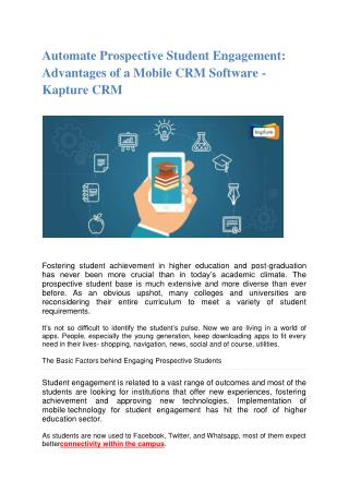 Automate Prospective Student Engagement: Advantages of a Mobile CRM Software - Kapture CRM