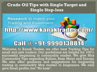 Crude oil tips with single target and single stop-loss