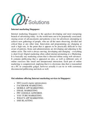 Ooi Solutions | Digital Marketing Agency Singapore | Internet Marketing