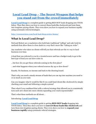 Local Lead Drop TRUTH review and EXCLUSIVE $25000 BONUS