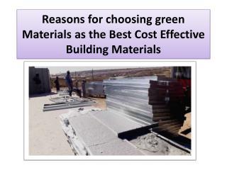 Best Cost Effective Building Materials