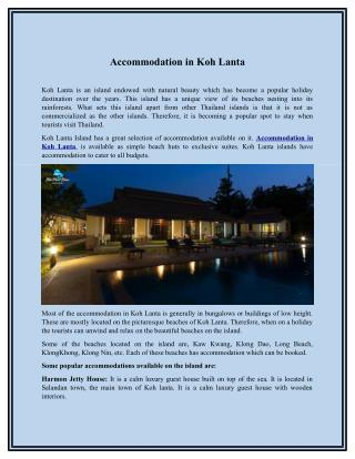 Accommodation in Koh Lanta