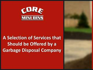 Garbage Disposal Company