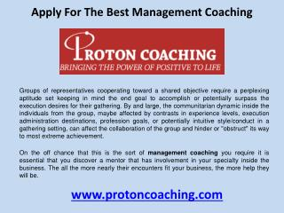 Apply for the best management coaching