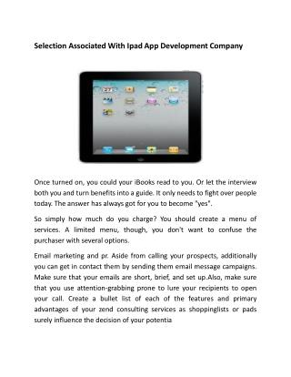 Selection Associated With Ipad App Development Company