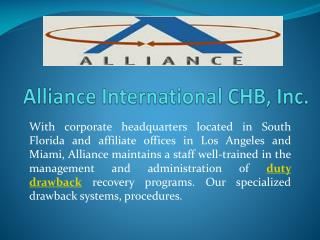 Duty Drawback Service for Importers | Alliance International CHB
