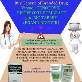 Buy Viread : Tenofovir 300 Mg Tablet (Brand Ricovir) @ Us$ 1.70