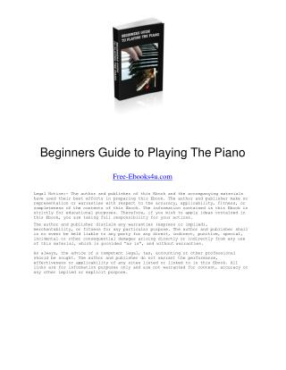 Beginners Guide to Playing The Piano Ebook