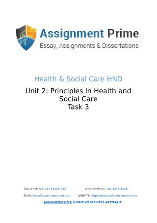 Assignment Prime - Sample Assignment on Health & Social Care (Task 3)