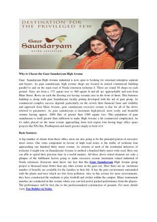 Why to Choose the Gaur Saundaryam High Avenue