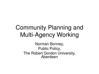 Community Planning and Multi-Agency Working