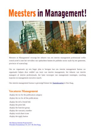 Executive interim management-Meesters in Management Den Haag