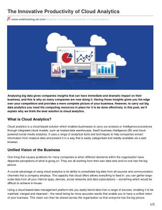 The Innovative Productivity of Cloud Analytics