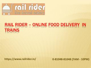 Online Food Delivery in Trains - Rail Rider