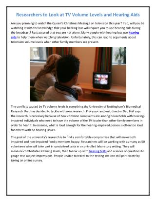 Researchers to Look at TV Volume Levels and Hearing Aids